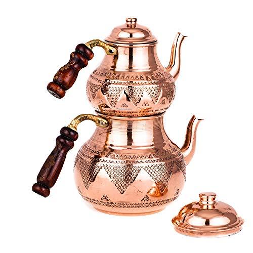 Tetera turca de cobre para tetera y hervidor de té de Caydanlik...