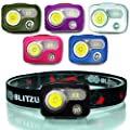 BLITZU USB Rechargeable LED Headlamp Flashlight for Adults and Kids, Waterproof Super Bright Cree Head Lamp with Red Light, Comfortable Headband Perfect for Running, Camping, Reading, Fishing (Black)