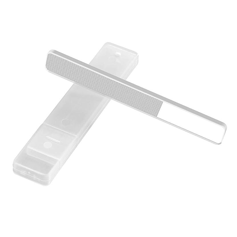 カリキュラムリラックスした立派な爪やすり 爪磨き ガラス製 ネイルケア用品 ケース付き ネイルケア
