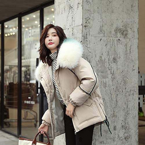 Xiaojie damesjack, katoen, kort, eenvoudige lijnen, winterjas, katoen, gewatteerd warme dikke Big Fur Collar Ladies Short Coats Womens Jackets