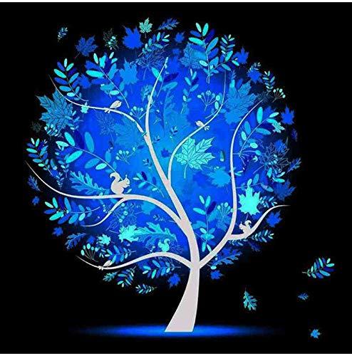 DIY 5D Children's Night Sky Blue Tree Squirrel Digital Diamond Painting Cross Stitch Mosaic Set Mural Kitchen Decoration Creative Handmade Artwork 15.7 * 19.7 inch