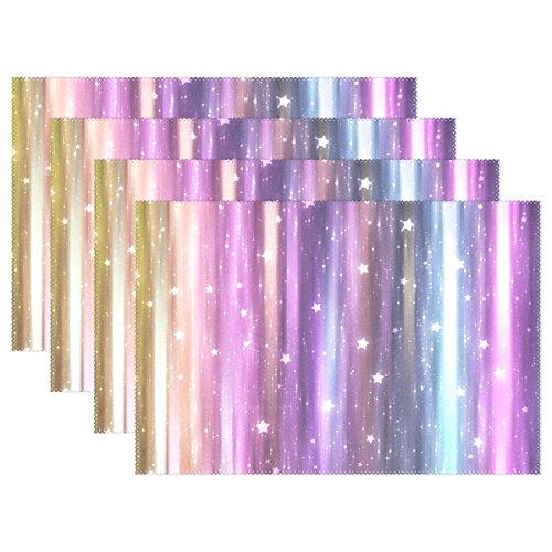 Vantaso Tafel Placemats Set van 6 Kleurrijke Galaxy Licht Paars Wasbare Dinningstafel Matten Hittebestendige Plaats Matten voor kinderen Rechthoek Tafel 12x18 inch