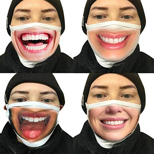 AIBEARTY 4 Pack Unisex Washable and Reusable Cotton Mouth Cover Funny for Outdoor Party Cosplay