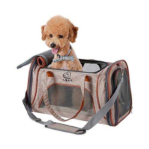 Louvra Hund Tragetasche Katze Transsporttasche Soft Haustier Träger mit Fleece-Pad Metall Sicherheitsverschluss aus Flachs Nylon für Katzen Klein Welpen