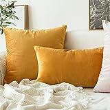 Velvet Soft Soild Decorative Square Throw Pillow Covers Set, yellow