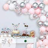 GRESAHOM Kit de arco de guirnalda, 107 globos de látex de color rosa y blanco para bodas, cumpleaños, despedidas de soltera, baby shower, aniversario o decoraciones de Navidad