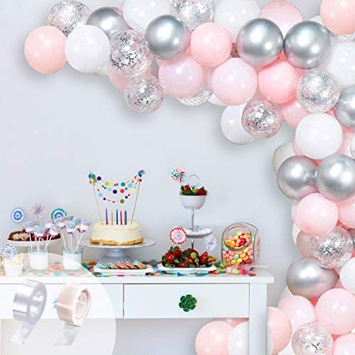 GRESAHOM Balloon Garland Arch Kit , 107pcs Silver Confetti Party Balloons Pink White Latex Balloons Set for Wedding, Birthday, Hen Party, Baby Shower, Anniversary or Christmas Decorations