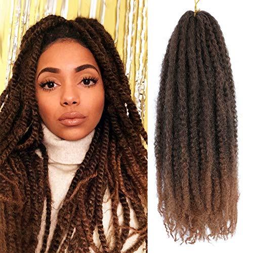 6 Packs Marley Hair Marley Braiding Hair Marley Braid Crochet Hair Long Afro Kinky Curly Hair For Faux Locs or twist Synthetic Fiber Hair Extensions (18 inch T30)