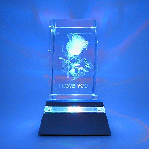 Starlet24 3D Laser Gravur Glasblock Delphin Herz Rose Kristallglas + LED-Untersetzer ZH-2