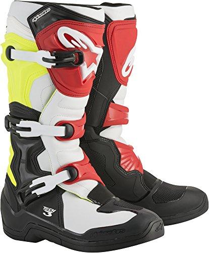 Alpinestars Unisex-Erwachsene Tech 3 Stiefel, Schwarz/Weiß/Gelb, Größe 08 (Mehrfarbig, Einheitsgröße