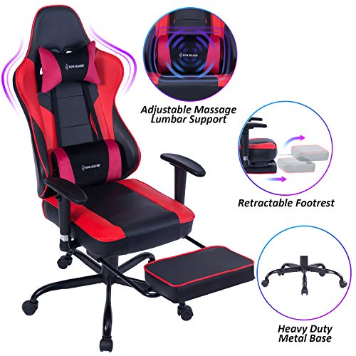 VON RACER Massage Gaming Chair Racing Office Chair - Adjustable Massage Lumbar Cushion, Retractable Footrest and Arms High Back Ergonomic Leather Computer Desk Chair, Red/Black chair gaming red
