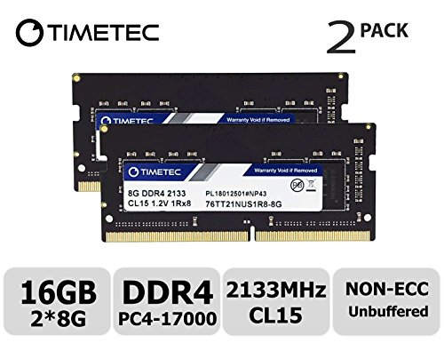 Timetec Hynix IC 4GB DDR4 2133 MHz PC4-17000 Unbuffered Non-ECC 1.2V CL15 1Rx8 Single Rank 260 Pin SODIMM laptop/notebook werkgeheugen modules Upgrade (4GB) 16GB(8GB x2)(Single Rank)