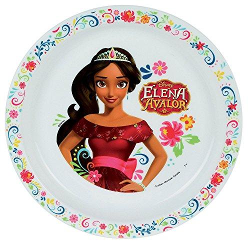 FUN HOUSE 005550 Disney Elena D'AVALOR Assiette Micro-ondable pour Enfant, Polypropylène, Blanche, 22 x 22 x 1 cm