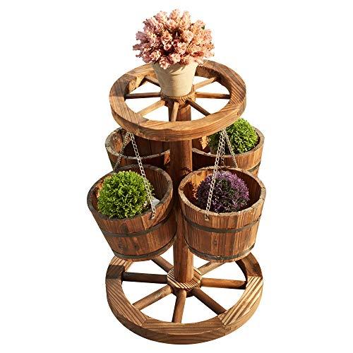 LOKATSE HOME Rustic Patio Wooden Wagon Barrel Wheel Planter Flower Pots with Buckets, Wood