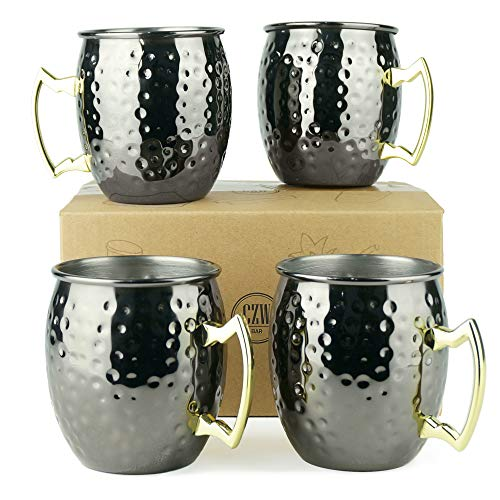 PG Black Color Stainless Steel Moscow Mule Mug - Set of 4 - Dimple Finish - Brass Handle