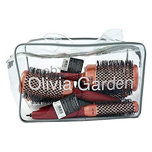 Olivia Garden Heat Pro Trousse de 4 Brosses Thermales Rondes (22, 32, 42, 52mm) - Antistatique, Barrilet Cuivre/Céramique et Poils Nylgard - Résistanc