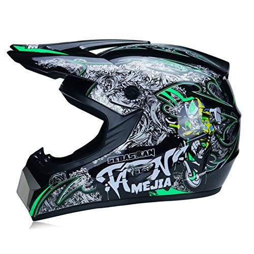 qwert Motocross Helmet (4 Pcs Set), Mountain Bike Helmet Set for Adult ATV Protective Helmet Accessories, Goggles/Gloves, Youth Kids Offroad Combo Helmet DOT Certified (55-62cm)