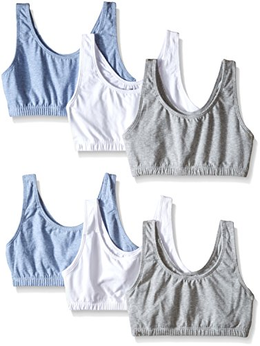 Fruit of the Loom Women's Built-Up Sports Bra, Heather Gray/White/Heather Blue, 42 (Pack of 6)