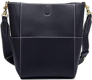 Fine Bag/Women's Handbag Leather Mother Bag Portable Shoulder Bag Fashion Messenger Bag Multi-Pocket Capacity (Color : Black, Size : One Size)