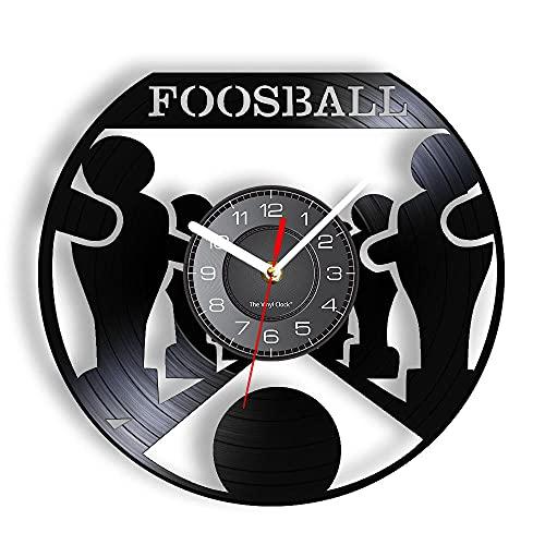 GVSPMOND Futbolín Reloj de Pared Disco de Vinilo Ocio Entretenimiento Juegos Deportivos Jugadores Reloj de Pared Colgante Decoración de Pared artística