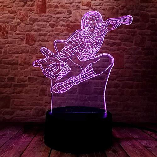 3D Illusion Lampe Lampe de Chevet Spiderman magique spiderman Lampe de Chevet Chambre Table Art Déco Enfant Lumière de Nuit avecNouveauté De Noël Cadeau d'anniversaire Avec chargement USB, chang