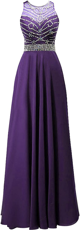 Fanciest Women's Halter Beaded Prom Dresses Long Formal Evening Gowns