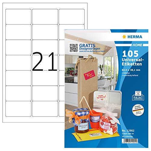 HERMA 12902 Haushalts-Etiketten DIN A4 ablösbar (63,5 x 38,1 mm, 5 Blatt, Papier, matt) selbstklebend, bedruckbar, abziehbare und wieder haftende Universal Aufkleber, 105 Klebeetiketten, weiß