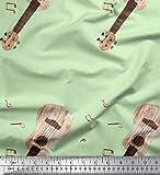 Soimoi Grun Baumwoll-Popeline Stoff Noten & Gitarre