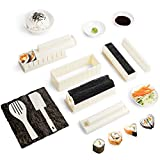 Virklyee Sushi Maker Kit 10 PCS DIY Sushi Set Sushi Making Tools 5 UnicheSushi corredo del creatore Sushi Roll Maker Stampo Facile da Usare Set di Sushi Sushi Kit (Bianco)
