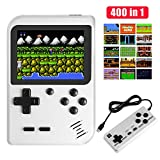 Handheld Game Console, Molyhood Portable Retro Game Player, 2.8-inch display Built in 400 Classical Games, Support TV plus two Players, Gift Birthday Presents for kids, Adults White