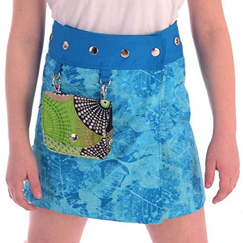 Sunsa Mädchen Rock Minirock Wende Wickelrock Sommerrock kurz, Baumwolle Mädchenrock Skirt, 2 Kinder Röcke in einem, mit Abnehmbarer Tasche, Größe verstellbar Coole Sachen/Geschenke 15720
