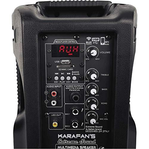 KARAFAN'S - KIT IMPIANTO COMPLETO PER KARAOKE CON 2 CASSE AMPLIFICATE E 2 RADIOMICROFONI WIRELESS INTEGRATI USB MP3 FM PC-AUX per Karaoke domestico o picoli eventi. Assitenza e ricambi Italia