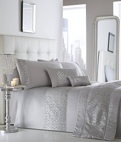 Juego de funda de edredón brillante para cama doble, color plateado