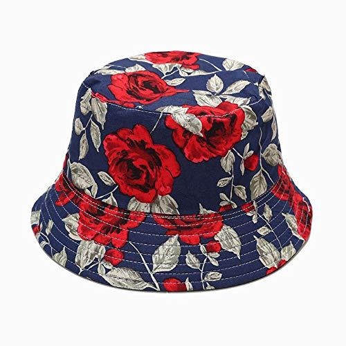 ZHENQIUFA Sombrero Pescador Gorras Elegante Sombrero De Pesca De Algodón con Estampado De Rosas, Gorra Plegable De Moda para Mujer, Sombrero De Pesca De Viaje para Mujer, Azul