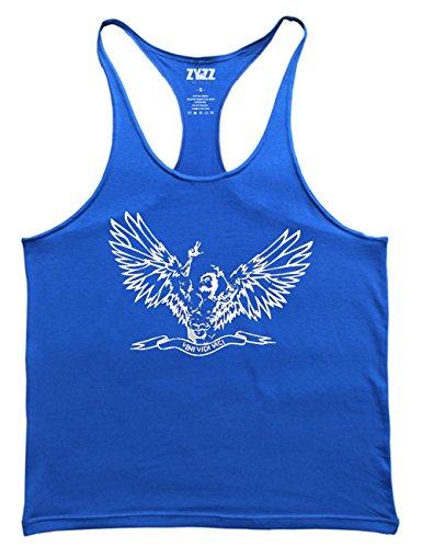 Muscle Alive Uomo Bodybuilding Canotte Palestra Zyzz Stringer Canottiera Cotone 02 Blue M