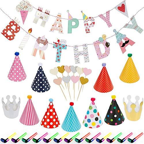 Migimi - Sombreros de fiesta de colores, 35 unidades, decoración de cumpleaños, cumpleaños, cumpleaños, bodas, fiestas de silbato