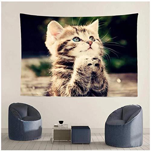 KBIASD Tapiz de Gato pequeño decoración del hogar Mantel para Colgar en la Pared Estera de Picnic Almohadilla para Dormir al Aire Libre Foto de Fondo 150.x130cm