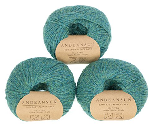 100% Baby Alpaca Yarn Skeins #4 Worsted, Afghan, Aran - Set of 3 - AndeanSun - Luxuriously Soft for Knitting, Crocheting-Great for Baby Garments, Scarves, and Hats 4 Ply Wool Yarn