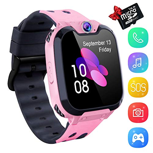 Kids Smartwatch Music Player - 1.54 inch HD Touchscreen Smart Watch Boys Girls with Camera Two-Way Call SOS Calculator Alarm Clock Games Music Watches for 4-12 Year Old [1GB SD Card Include] (Pink)