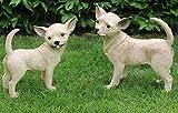 JS GartenDeko Dekofigur Hund Chihuahua als Satz 2 Stück Deko Figur aus Kunstharz H 34/29 cm