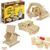 Kraftic Woodworking Building Kit for Kids and Adults, with 3 Educational DIY Carpentry Construction Wood Model Kit Toy Projects for Boys and Girls - Hummer, Excavator and Bird-Feeder