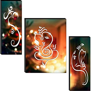 1ArtofCreation Set of 3 Shri Ganesh Ji Lighting Beautiful Home Decorative UV Textured Mdf Painting 12 Inch X 18 Inch SANFJ...