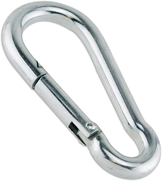 TooTaci M8 x 80mm Silver 304 Stainless Steel Spring Snap Link Grade Heavy Duty Spring Snap Hook Carabiner Pack of 10