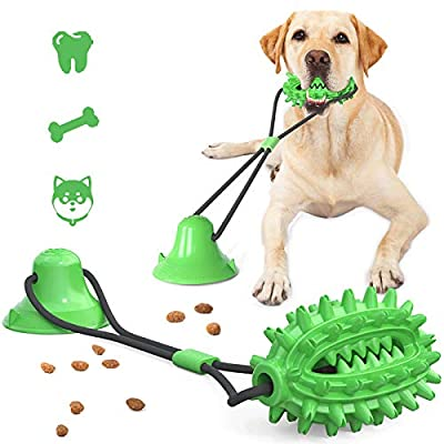 Dog Chew Toys, Pet Molar Bite Toy with Suction Cup, Multifunction Pet Molar Bite Toy, Dog Molar Toy Made of Thermoplastic Rubber, Teeth Cleaning with Dental Care Function for Dog
