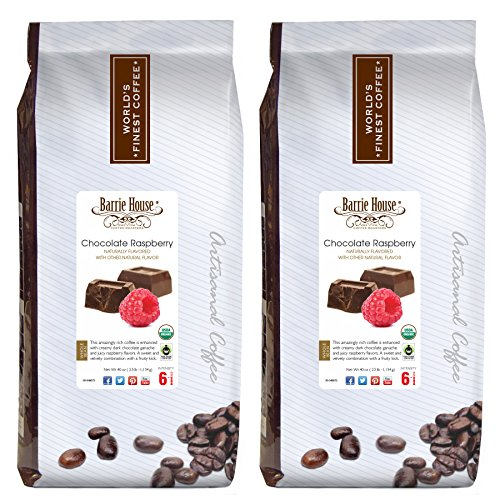 Barrie House Whole Bean Coffee Naturally Flavored Chocolate Raspberry, Fair Trade, USDA Certified Organic Bundled 5 lbs - 2 Packs of 2.5 lbs