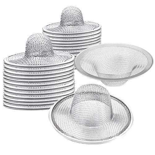 "40 pcs Heavy Duty Stainless Steel Slop Basket Filter Trap, 2.75"" Top / 1"" Mesh Metal Sink Strainer,Perfect for Kitchen Sink/Bathroom Bathtub Wash basin Floor drain balcony Drain Hole"
