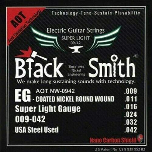Blacksmith Cuerdas de guitarra eléctrica Pro con recubrimiento de calibre de luz 9-42 Nano Shield