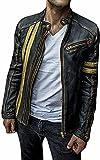 Chaqueta de motorista para hombre, de piel envejecida, estilo clásico, color negro, Chaqueta de moto negra, XXXXL