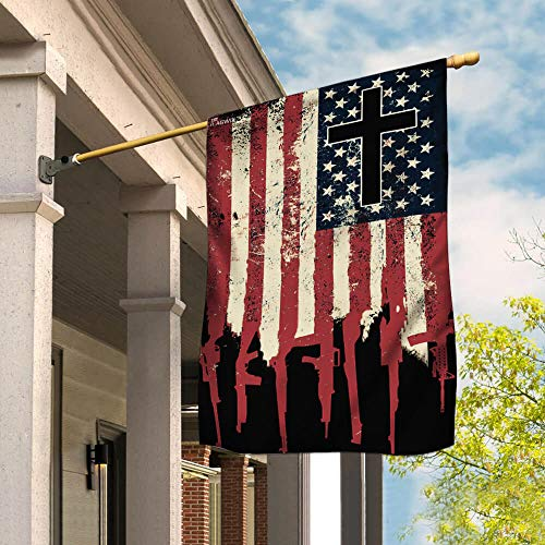 """Flags-We The People 2nd Amendment Christian Cross Flag THB2200F, House Flag (29.5"""" x 39.5"""")-USA House Garden Flags Premium Polyester-Decorative Outdoor Flags"""