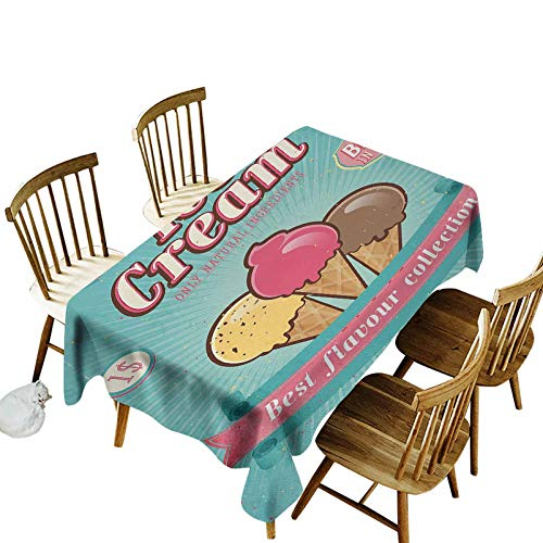 Ice Cream Premium Table Cover Best Flavor Collection Quote with Free Topping Children Design Rectangular Table Cloth for Party Picnic Camping 54x108 Seafoam Pink Pale Yellow
